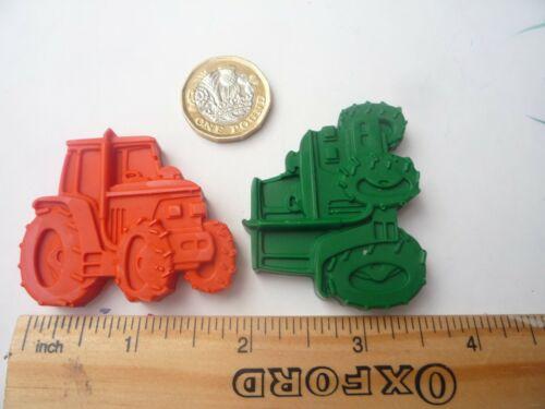 Tracteur en forme de nouveauté Crayons de cire X 6 crayons fait main