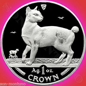1994-Isle-of-Man-JAPANESE-BOBTAIL-CAT-1-Oz-Silver-Proof-Coin-with-Box-amp-COA