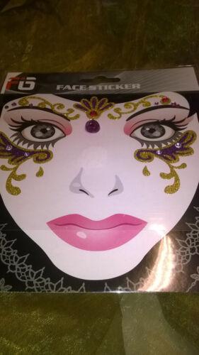 Facesticker visage Bijoux sticker Fasnacht Mardi Gras Carnaval