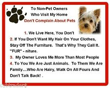 Funny Dog Yorkshire Terrier House Rules Refrigerator / Magnet Gift Card Idea