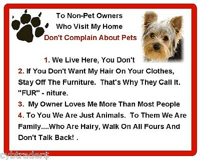 Funny Dog Yorkshire Terrier House Rules Refrigerator Magnet Gift Card Idea Ebay
