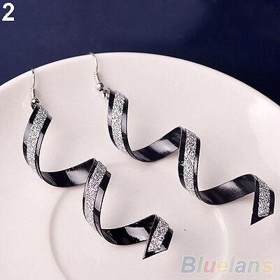 Women Sophisticated  Twist Spiral Eardrops Lady Girl Long Dangle Hook Earrings