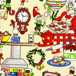 Fat-Quarter-Mama-Noel-cocina-navidad-algodon-acolchada-Tela-FABRI-Edredon