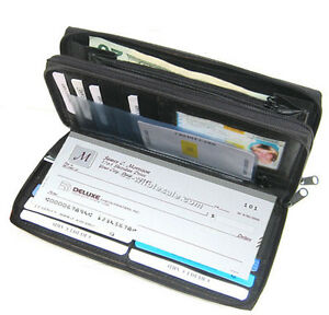 Black-Woman-2-Zipper-Leather-Checkbook-Cover-Organizer-Accordion-Clutch-Wallet
