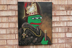 Rare-Pepe-Sad-Frog-on-16x20-034-Canvas-Boroque-Rembrandt-Style