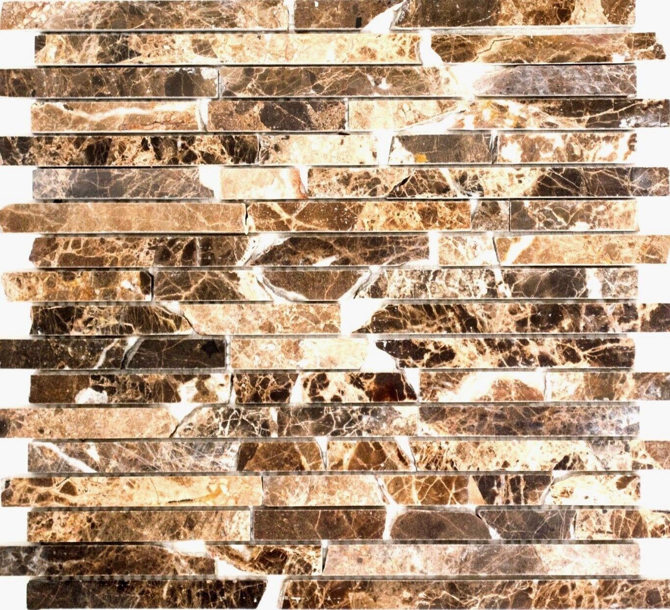 Marmormosaik Verbund Impala braun poliert Fliesenspiegel Art  40-1306  10Matten