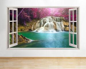 A177-Cascade-du-lac-Les-arbres-Nature-Fleu-Autocollant-Chambre-3D-Vinyle-enfants