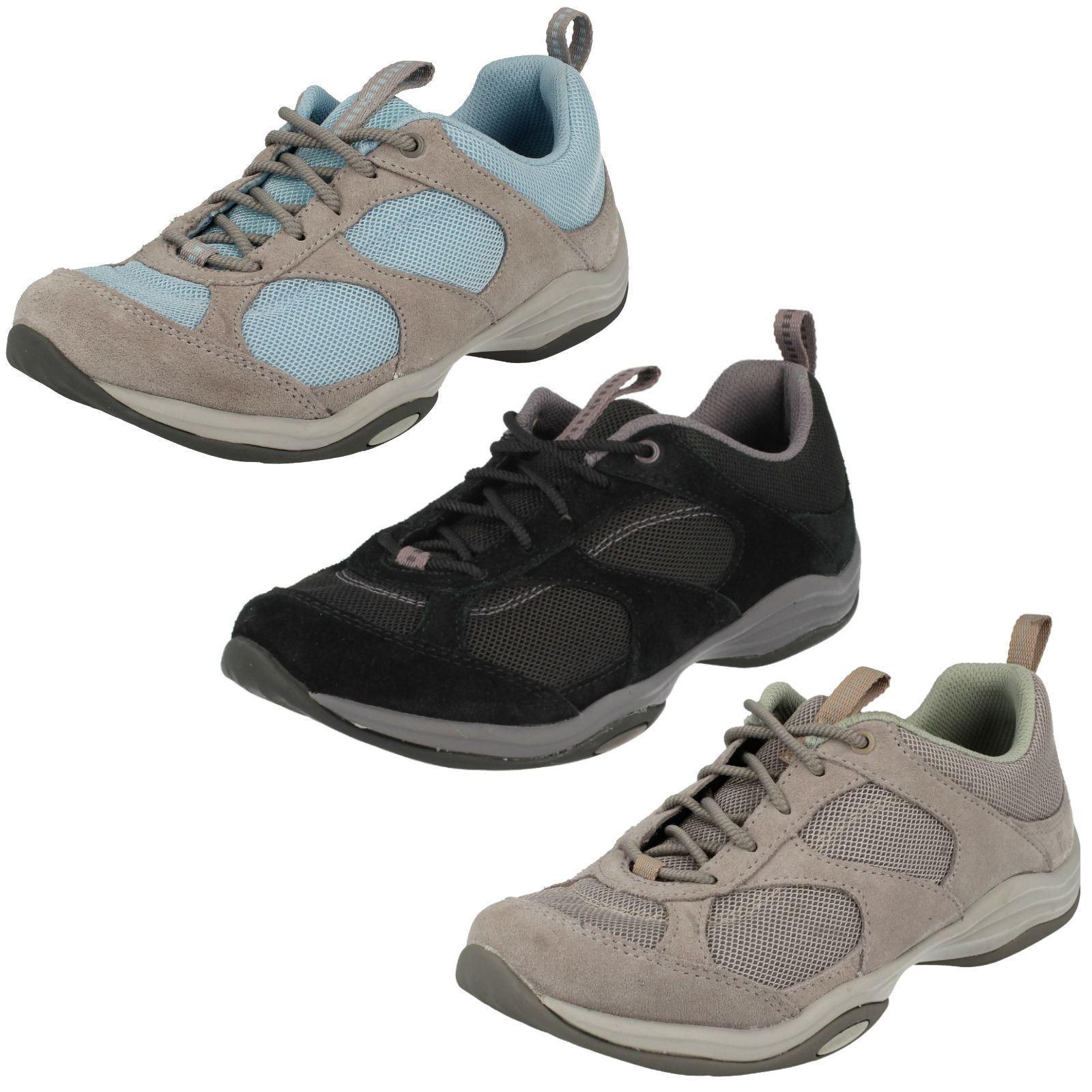 LADIES CLARKS SUEDE LACE UP  EVERYDAY WALKING TREK TRAINERS chaussures INWALK AIR