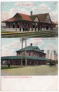 Postcard-Big-Four-amp-Illinois-Central-Railroad-Depot-in-Kankakee-Illinois-107376