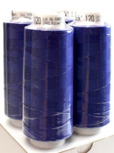 4 x 2500 m sattes dunkelblau Trojalock Amann Garn Overlockgarn neue Farbe 7859