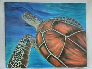 Original-Acrylic-Painting-Beach-Sea-Turtle-Marine-Life-16x20-Canvas-Decor