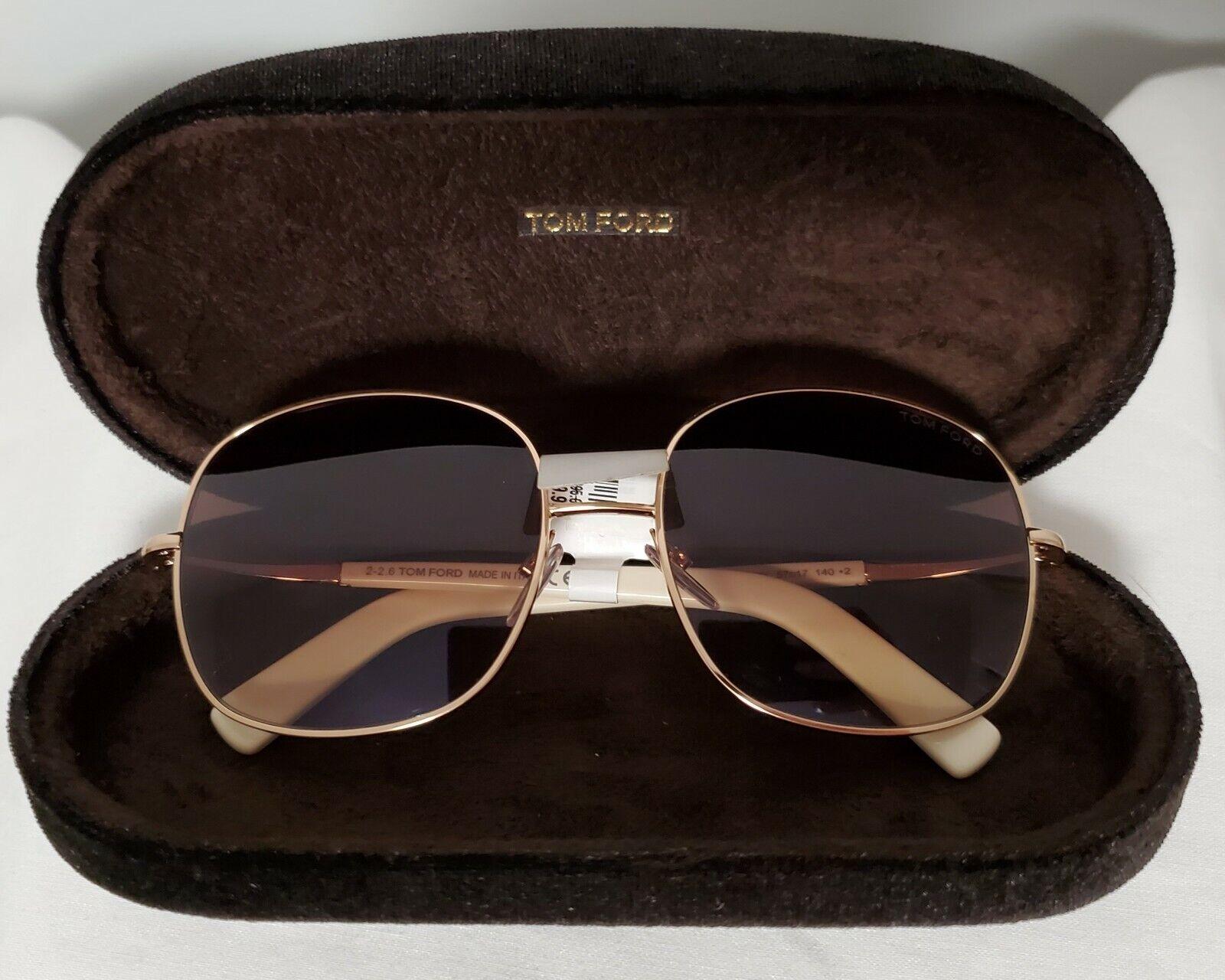 NWT+CASE!NORDSTROM TOM FORD GEORGINA TF499 28K Brown Ivory Sunglasses 57 17 140