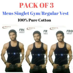 Mens-Singlet-Cotton-Sleeveless-Color-Gym-Casual-Vest-Pack-of-3-Rupa-Frontline