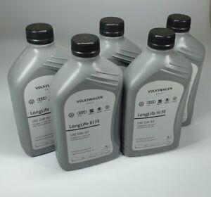 5x-1-Liter-Original-VW-Audi-Seat-Skoda-Ol-LongLife-III-FE-0W-30-Motoroel-0W30