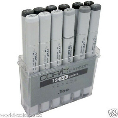 COPIC SKETCH SET 12pc Neutral Gray Colors PENS MARKERS + Storage Box  SNG12
