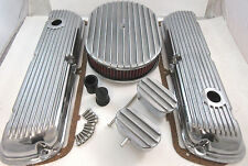 SB Ford SBF Finned Aluminum Valve Cover Kit W/ Air Cleaner 260 289 302 351W V8