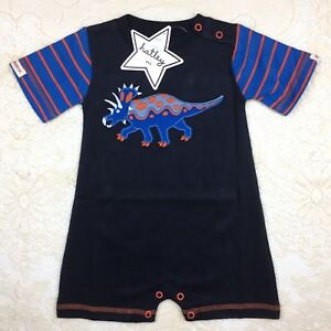 Baby-Boys-3-6M-Hatley-Dinosaur-One-Piece-Shorty-Romper-Cotton-Triceratops-Blue