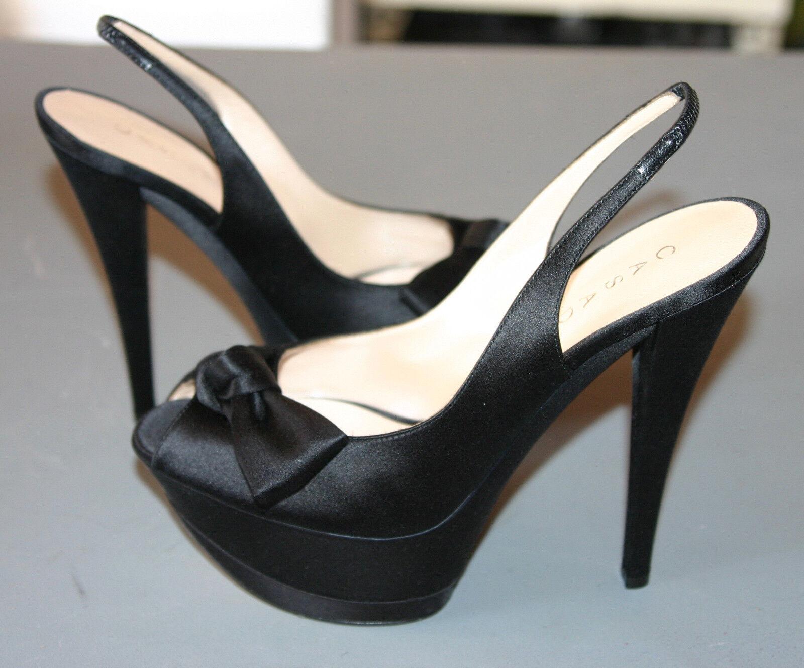 NIB-CASADEI GORGEOUS schwarz SATIN SANDALS WEDGE SLING BACK schuhe-Größe 8.5