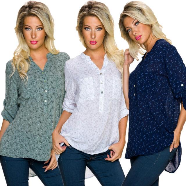 Damen Bluse Hemdbluse Hemd Blümchen Muster S M 34 36 38 Henley Style Turn up neu