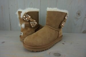 19063f8d603 Details about UGG MINI BAILEY BOW BRILLIANT BLING PEARL CHESTNUT SUEDE  BOOTS US 8 nib