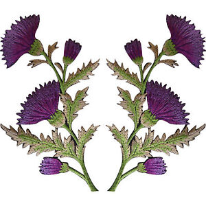 Pair-of-Purple-Thistle-Flower-Patches-Iron-Sew-On-Shirt-Bag-Flowers-Patch-Badge