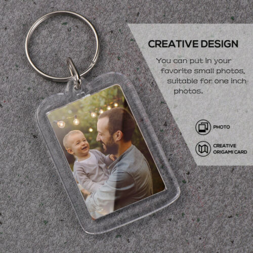 10pcs Small Photo Picture Frame Name Tag Key Ring Key Chain Holder Novelty Gift