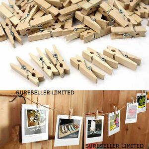 36-x-mini-picchetti-di-legno-Natale-Card-Peg-Holder-Hanger-2M-stringa-FOTO-NOZZE