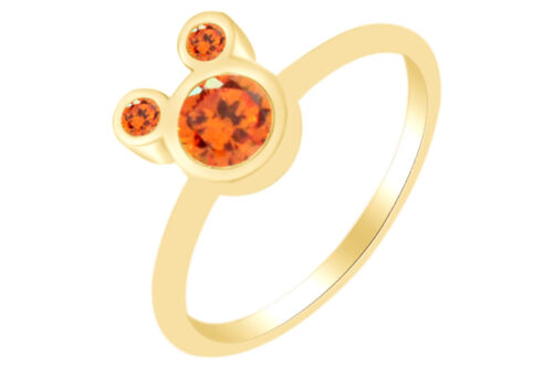 Forme Ronde Citrine Mickey Mouse Anneau 14K Or Blanc Sur Argent Sterling