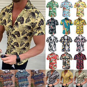 Men-Floral-Short-Sleeve-Blouse-Hawaiian-Shirts-Summer-Beach-T-Shirt-Tops-Casual
