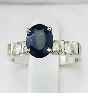 14k-Solid-white-gold-Natural-Diamond-amp-Sapphire-Ring-September-Birthstone