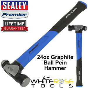 Sealey Ball Pein Hammer 24oz 680g Graphite Premier Carbon Steel Rubber Grip