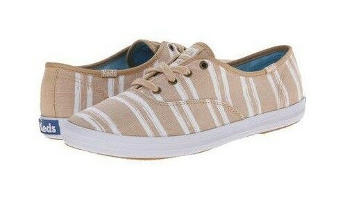 Women's Keds Stripe Canvas shoes Beige White Size  8.5