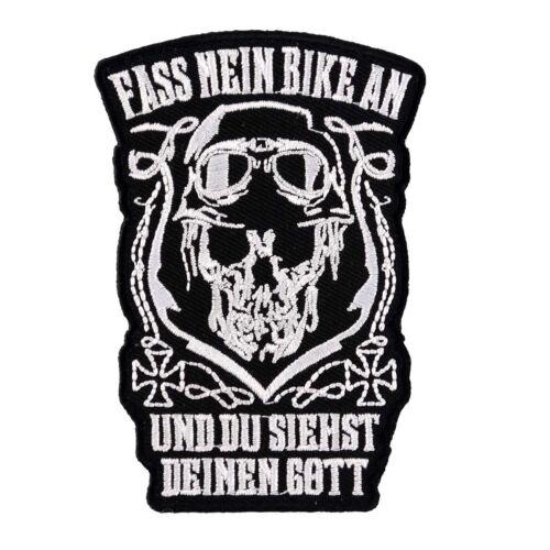 Aufnäher Aufbügler Fass mein Bike an UND DU SIEHST GOTT biker kutte motorrad