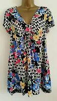 NEW Size 14-18 Butterfly Floral Black White Blue Pink Tunic Top Blouse