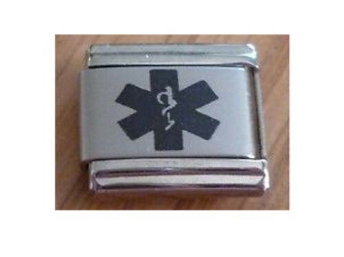 9mm Italian Charms L42 Caduceus Medical Alert Symbol Fits Classic Size Bracelet