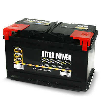 ULTRA POWER Batteria per auto 100 Ah DX 800A pronta all'uso lunga durata potenza