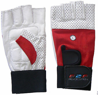 Mens Weight Body Building Lifting  Leather Gym Gloves Half Finger