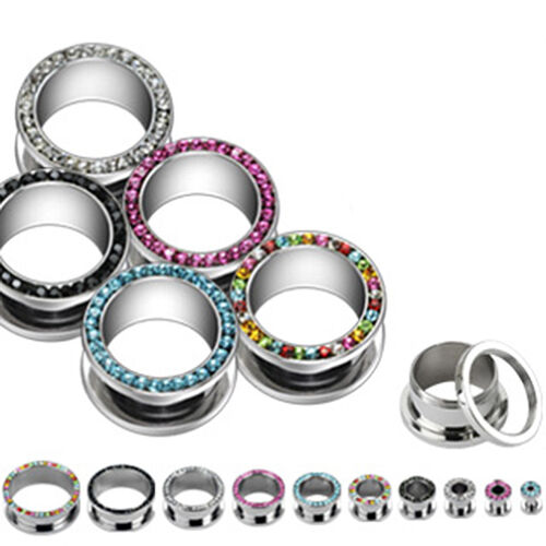 Shiny Multi CZ Gems Rim EAR PLUGS Steel Screw-Fit Bling PIERCING GAUGES 2 PAIR