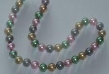 "10MM Multicolor #24 AAA South Sea Shell Pearl Necklace 18"" NEW (silk gift bag)"