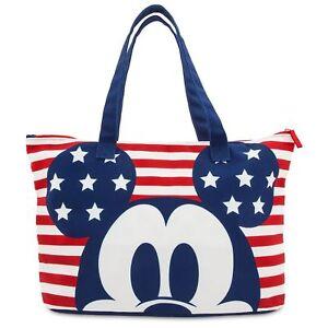 9c19b10fce5 Disney Store Mickey Mouse Red White Blue USA Americana Tote Beach ...