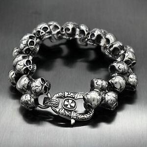 Men-039-s-Thick-Heavy-Punk-Multi-Skulls-Biker-316L-Stainless-Steel-Chain-Bracelet