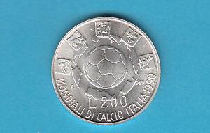 Courageux Rara Mondiali Calcio 1990 Lire 200 Lire Argento Fior Di Conio Unc Fdc 1989
