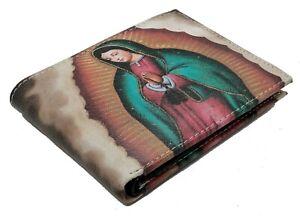 Virgin-Mary-Genuine-Leather-Cash-Card-ID-Slots-Men-039-s-Bifold-Wallets