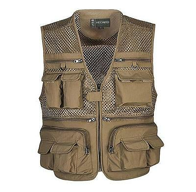 Men mesh vest multi - pocket fishing photography vests outdoor waistcoat jacket