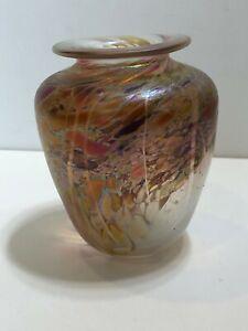 Bruce-Freund-Art-Glass-Vase-Signed-5-034-Tall-4-1-4-034-Widest-Weight-is-1-Lbs
