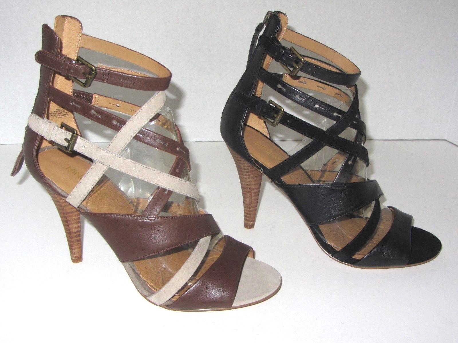 New Womens Nine West Luigi Sandal Strappy Leather Shoes Size 8