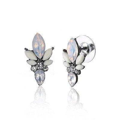 Silver Flower Crystal Earrings Ear Stud Resin Jewelry New Charm Rhinestone Solid