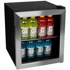 Stainless Steel Beverage Cooler Mini Fridge Compact Glass Door Bar Refrigerator