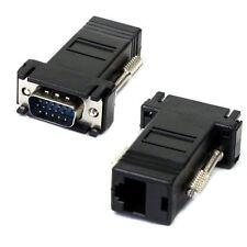 VGA RGB 15pin Male Extender To Lan Cat5 Cat5e RJ45 Ethernet Female Adapter