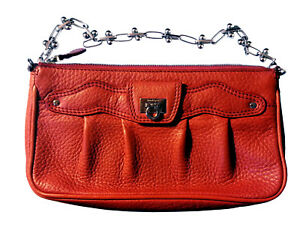 Image is loading Authentic-Salvatore-Ferragamo-Red-Leather-Adelia-Clutch -Bag- 4eb5018fdbcc8